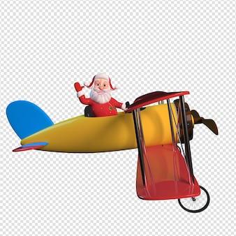 Isolierte charakterillustration des weihnachtsmanns, der das fliegen im flugzeug hält