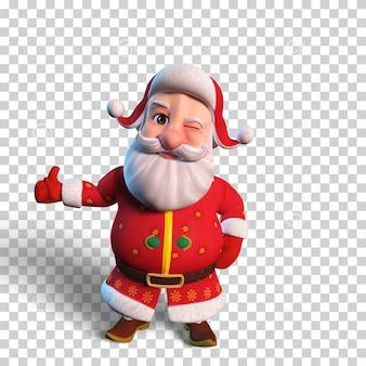 Isolierte charakterillustration des weihnachtsmanns, der für weihnachtsentwurf zwinkert