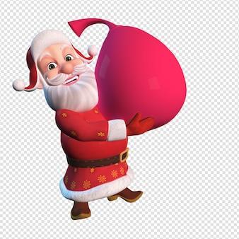 Isolierte charakterillustration des weihnachtsmanns, der große rote tasche hält