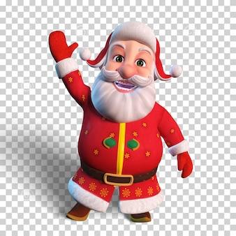 Isolierte charakterillustration des weihnachtsmanns, der hand für weihnachtsentwurf winkt