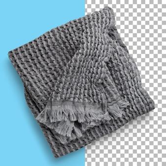 Isolierte detailansicht des grauen waffel-piqué-handtuchs