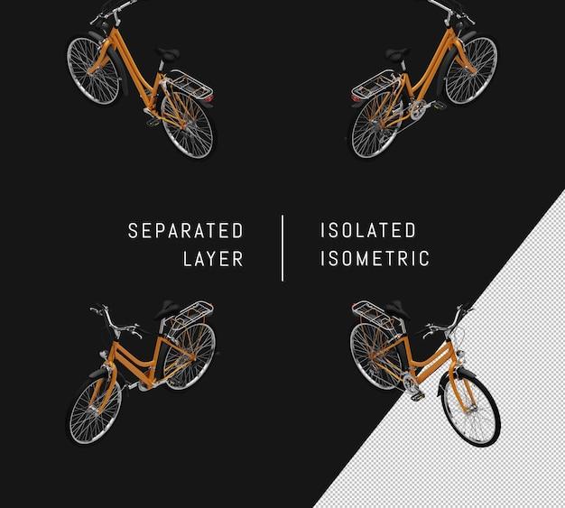 Isolierte gelbe generische fahrrad isometrische fahrrad-set