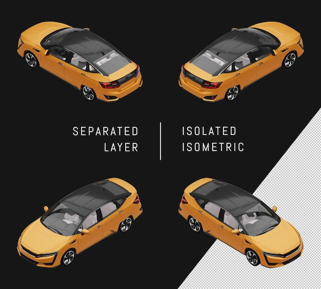 Isolierte gelbe sport elegante limousine isometrische auto-set