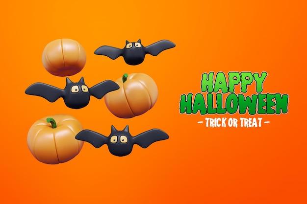Isolierte halloween 3d-rendering mit fledermaus und kürbis 3d premium psd