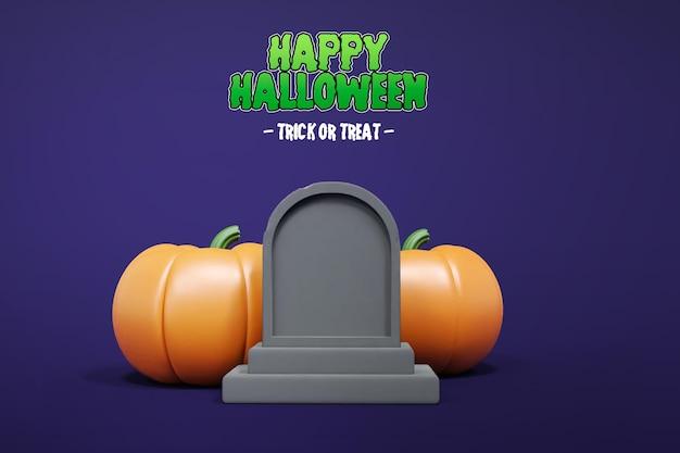 Isolierte halloween 3d-rendering mit grabstein und kürbis 3d premium psd