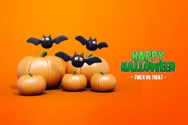 Isolierte halloween 3d-rendering mit kürbis und fledermaus 3d premium psd Premium PSD