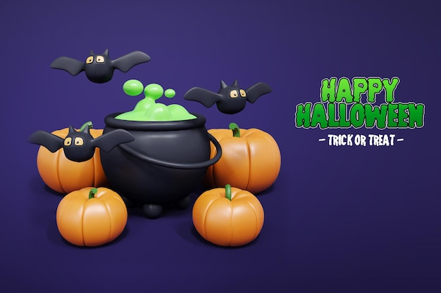 Isolierte halloween 3d-rendering mit kürbisfledermaus und hexen brauen 3d premium psd