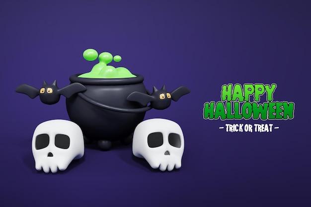 Isolierte halloween 3d-rendering mit schädel und hexen brauen 3d premium psd