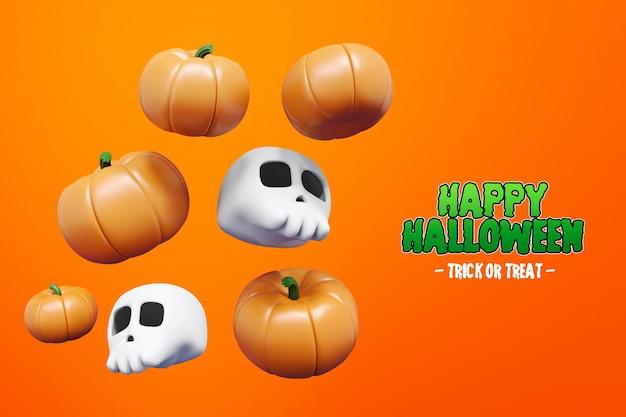 Isolierte halloween 3d-rendering mit schädel und kürbis 3d premium psd