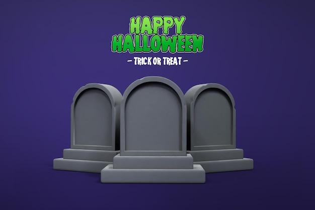 Isolierte halloween 3d-rendering mit tomb stone 3d premium psd