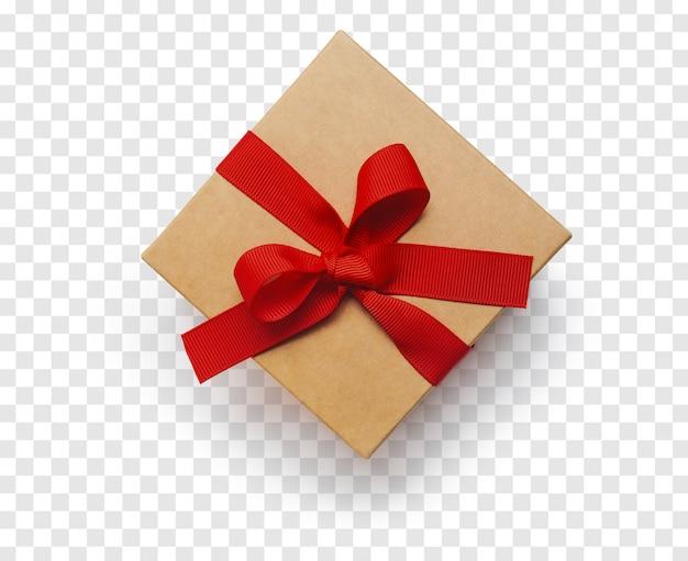 Isolierte handwerk geschenkbox mit rotem band. ansicht von oben