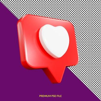 Isolierte liebe minimalistisches 3d-knopf-symbol-abzeichen