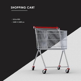 Isolierte metall-einkaufswagen-vorderansicht des rechten winkels