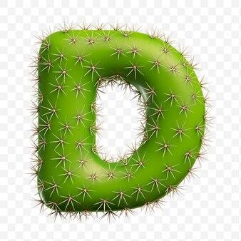 Isolierte psd-datei 3d-darstellung des alphabetbuchstaben d aus grünem kaktus