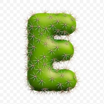 Isolierte psd-datei 3d-darstellung des alphabetbuchstaben e aus grünem kaktus