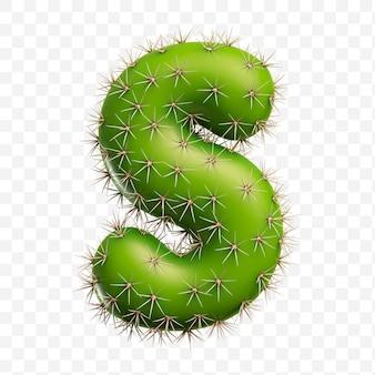 Isolierte psd-datei 3d-darstellung des alphabetbuchstaben s aus grünem kaktus