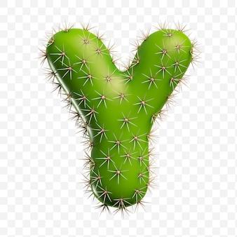 Isolierte psd-datei 3d-darstellung des alphabetbuchstaben ymade aus grünem kaktus
