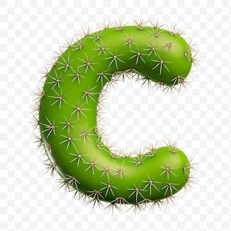 Isolierte psd-datei 3d-darstellung des alphabets buchstaben c aus grünem kaktus