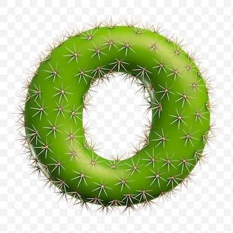 Isolierte psd-datei 3d-darstellung des alphabets buchstaben o aus grünem kaktus