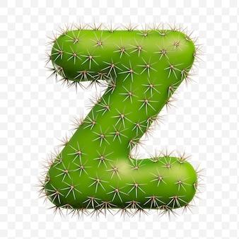 Isolierte psd-datei 3d-darstellung des alphabets buchstaben z aus grünem kaktus