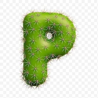 Isolierte psd-datei 3d-darstellung von alphabet buchstaben p aus grünem kaktus