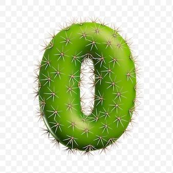 Isolierte psd-datei 3d-darstellung von alphabet nummer 0 aus grünem kaktus
