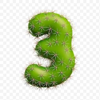Isolierte psd-datei 3d-darstellung von alphabet nummer 3 aus grünem kaktus