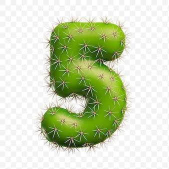 Isolierte psd-datei 3d-darstellung von alphabet nummer 5 aus grünem kaktus