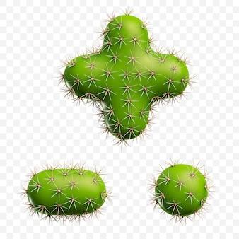 Isolierte psd-datei 3d-darstellung von alphabetsymbolen aus grünem kaktus