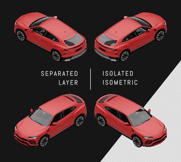 Isolierte rote sport elegante suv isometrische auto-set