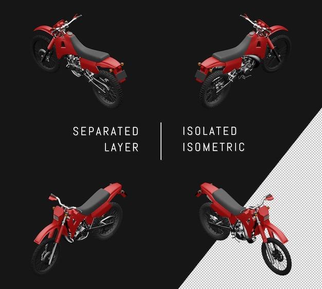 Isolierte rote sport trail motorrad isometrische motorrad set