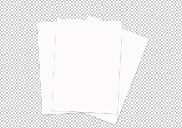 Isolierte sammlung von papierblättern