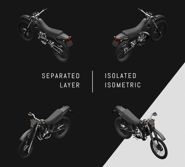 Isolierte schwarze sport trail motorrad isometrische motorrad set