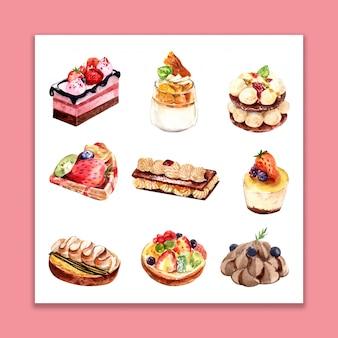 Isolierte set aquarell bäckerei