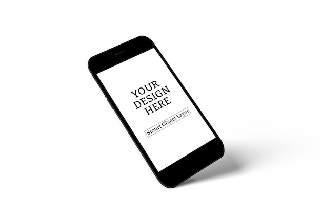 Isolierte smartphone mit mockup-bildschirm