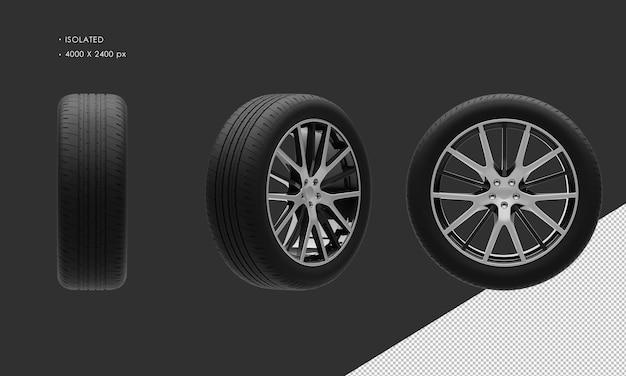 Isolierte sport city suv auto schwarz und grau chromfelge und reifen