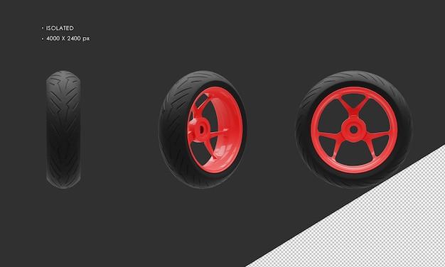Isolierte super sport bike motorrad rote farbe hinterrad felge und reifen
