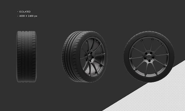 Isolierte supersportwagen dark chrome felge und reifen