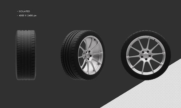 Isolierte supersportwagen-grau-chrom-felge und reifen