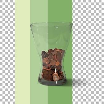 Isolierte vase mit münzen geld