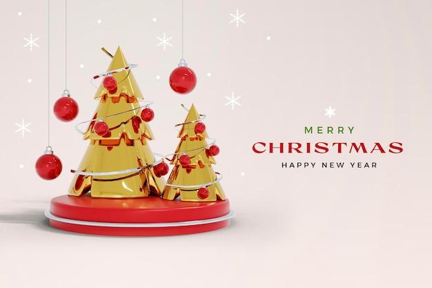 Isolierte weihnachten und neujahr 3d-rendering-modell mit weihnachtsbaum und dekoration