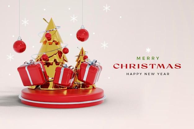 Isolierte weihnachten und neujahr 3d-rendering-modell mit weihnachtsbaum und geschenkbox