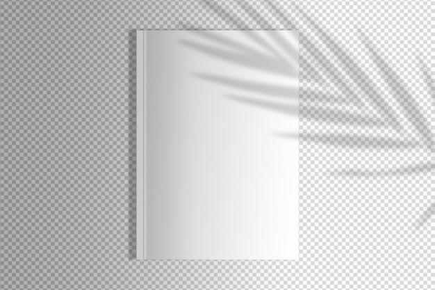 Isolierte weiße zeitschrift mit palmenschatten