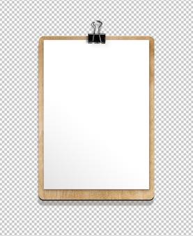 Isolierte zwischenablage mit papierblatt