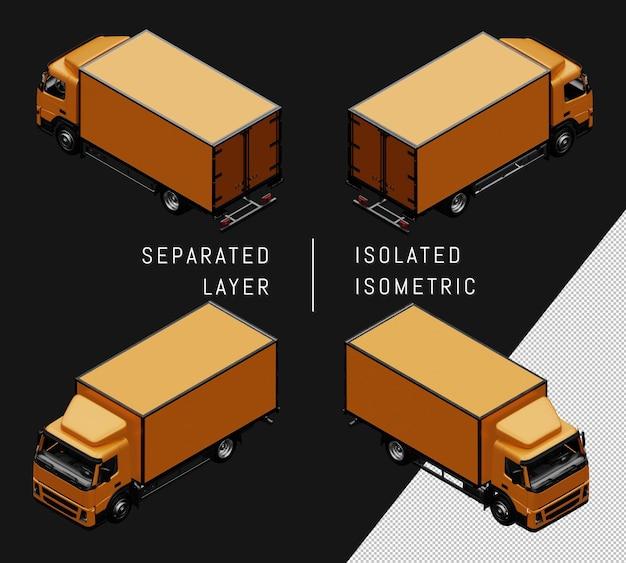Isolierter gelber kastenwagen isometrisches auto-set