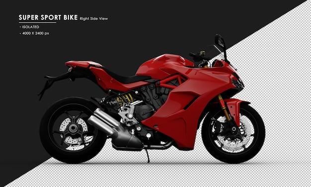 Isolierter roter super sport bike seitenständer von der rechten seitenansicht