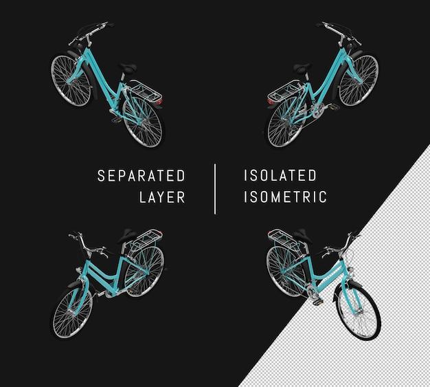 Isoliertes blaues generisches fahrrad isometrisches fahrradset