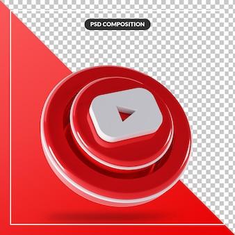 Isoliertes design des glänzenden youtube-logos 3d