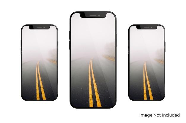 Isoliertes design des smartphone-modells in 3d-rendering