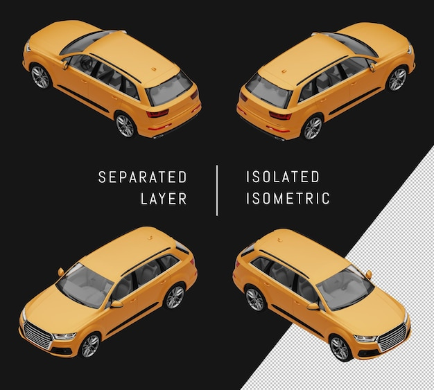 Isoliertes gelbes sport-elegantes suv-isometrisches auto-set